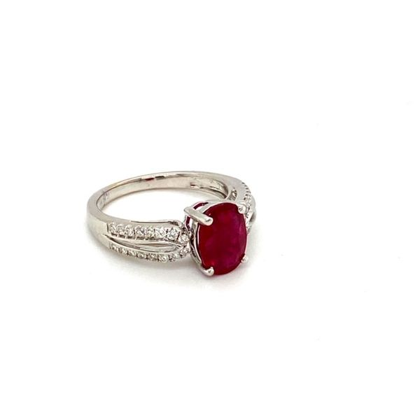 Oval Ruby Ring with Diamond Shank Image 2 Toner Jewelers Overland Park, KS