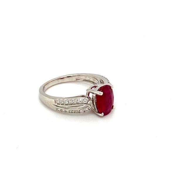 Oval Ruby Ring with Diamond Shank Image 3 Toner Jewelers Overland Park, KS