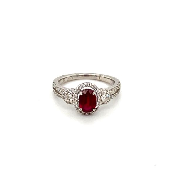 Oval Ruby Ring with Diamond Halo Toner Jewelers Overland Park, KS