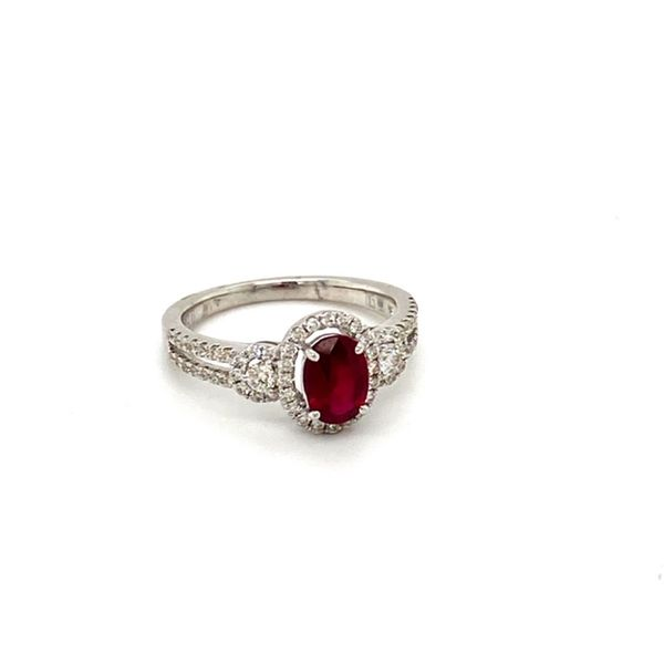Oval Ruby Ring with Diamond Halo Image 2 Toner Jewelers Overland Park, KS