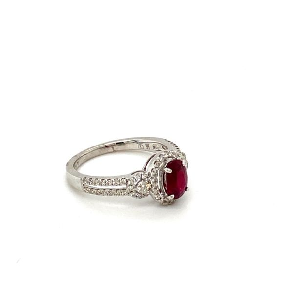 Oval Ruby Ring with Diamond Halo Image 3 Toner Jewelers Overland Park, KS