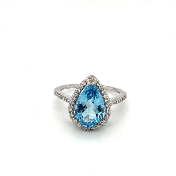 Pear Shape Aquamarine Ring & Diamond Halo Toner Jewelers Overland Park, KS