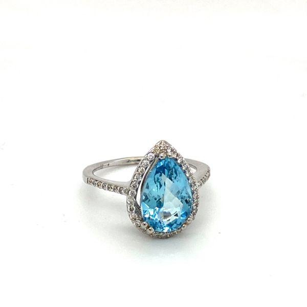 Pear Shape Aquamarine Ring & Diamond Halo Image 2 Toner Jewelers Overland Park, KS