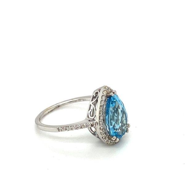 Pear Shape Aquamarine Ring & Diamond Halo Image 3 Toner Jewelers Overland Park, KS