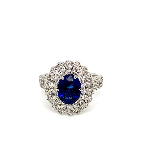 Oval Sapphire Ring with Diamond Flower Halo Toner Jewelers Overland Park, KS