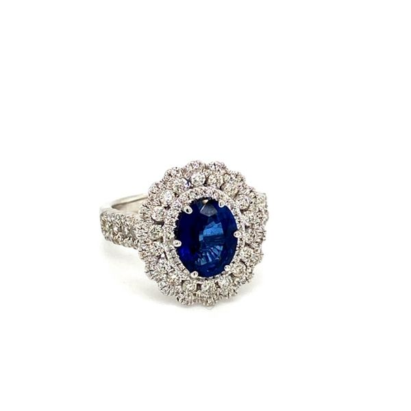 Oval Sapphire Ring with Diamond Flower Halo Image 2 Toner Jewelers Overland Park, KS