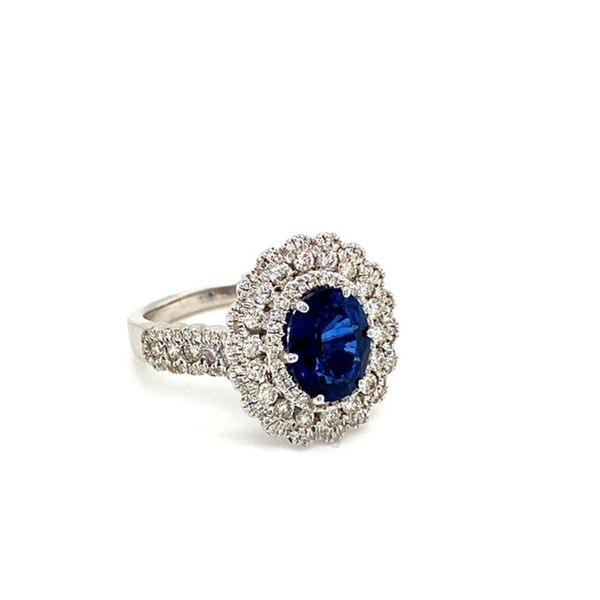 Oval Sapphire Ring with Diamond Flower Halo Image 3 Toner Jewelers Overland Park, KS