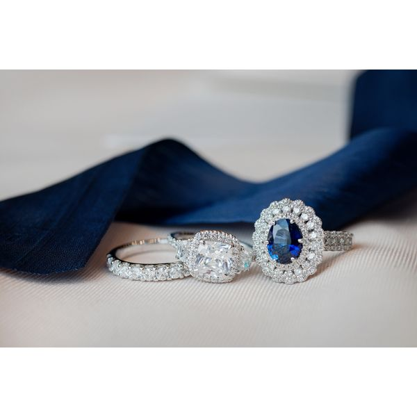 Big Sapphire halo ring with engagement ring