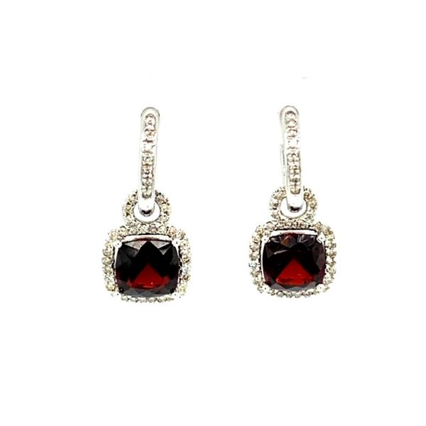 Garnet and Diamond Earrings Image 2 Toner Jewelers Overland Park, KS