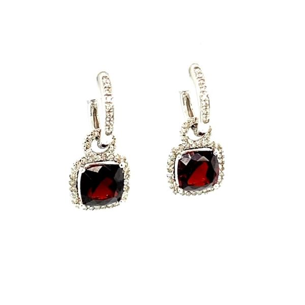 Garnet and Diamond Earrings Image 3 Toner Jewelers Overland Park, KS