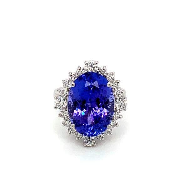 Oval Tanzanite Ring with Diamond Halo Toner Jewelers Overland Park, KS