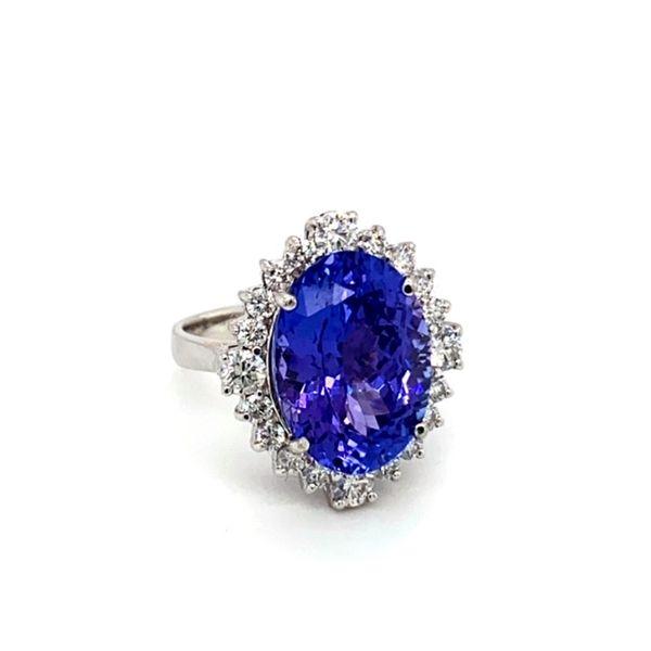 Oval Tanzanite Ring with Diamond Halo Image 2 Toner Jewelers Overland Park, KS