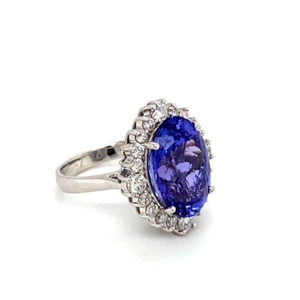 Oval Tanzanite Ring with Diamond Halo Image 3 Toner Jewelers Overland Park, KS