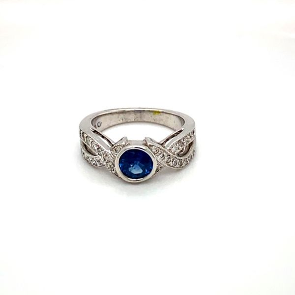 Round Sapphire Ring with Twisted Diamond Shank Toner Jewelers Overland Park, KS