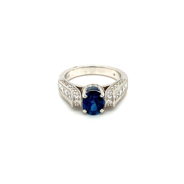 Round Sapphire Floating Ring with Diamond Shank Toner Jewelers Overland Park, KS