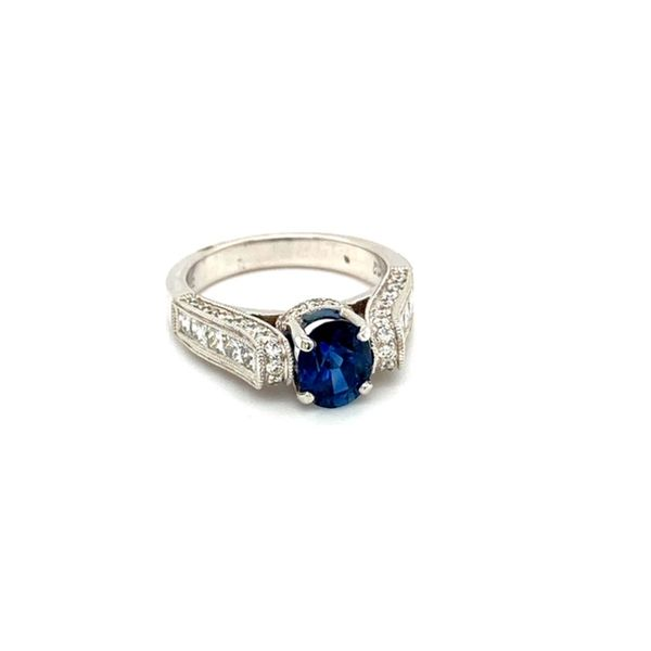 Round Sapphire Floating Ring with Diamond Shank Image 2 Toner Jewelers Overland Park, KS