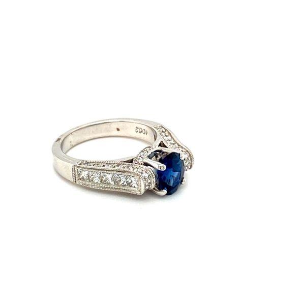 Round Sapphire Floating Ring with Diamond Shank Image 3 Toner Jewelers Overland Park, KS