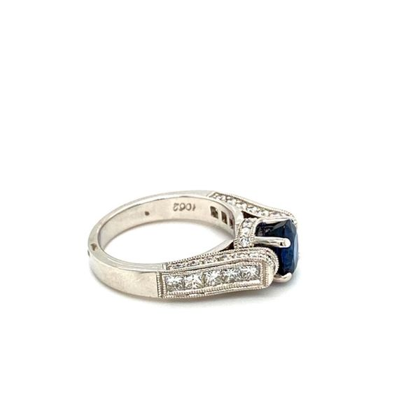Round Sapphire Floating Ring with Diamond Shank Image 4 Toner Jewelers Overland Park, KS