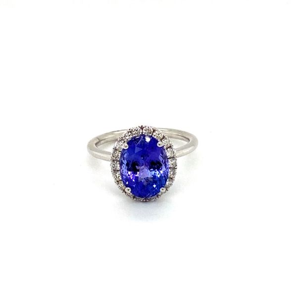 Oval Tanzanite Ring with Diamond Halo Toner Jewelers Overland Park, KS