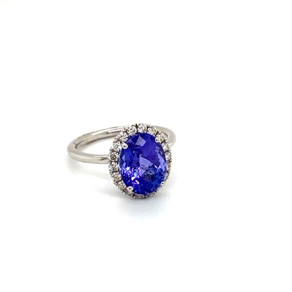 Oval Tanzanite Ring with Diamond Halo Image 2 Toner Jewelers Overland Park, KS