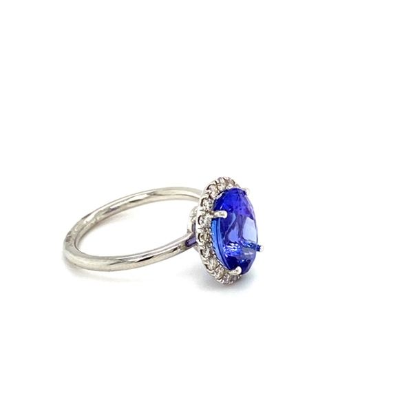 Oval Tanzanite Ring with Diamond Halo Image 3 Toner Jewelers Overland Park, KS