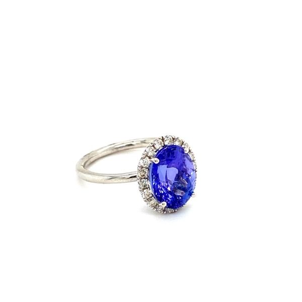 Oval Tanzanite Ring with Diamond Halo Image 4 Toner Jewelers Overland Park, KS