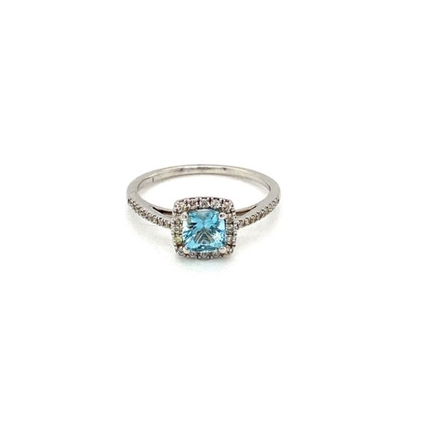 Cushion Aquamarine and Diamond Ring Toner Jewelers Overland Park, KS