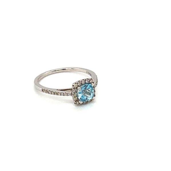 Cushion Aquamarine and Diamond Ring Image 2 Toner Jewelers Overland Park, KS