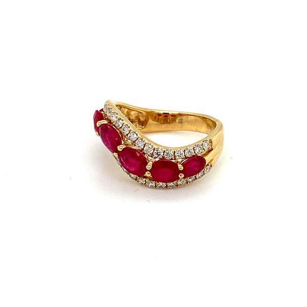 Ruby and Diamond Wave Band Image 3 Toner Jewelers Overland Park, KS