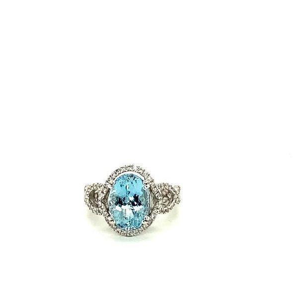 Oval Aqua & Diamond Ring  Toner Jewelers Overland Park, KS