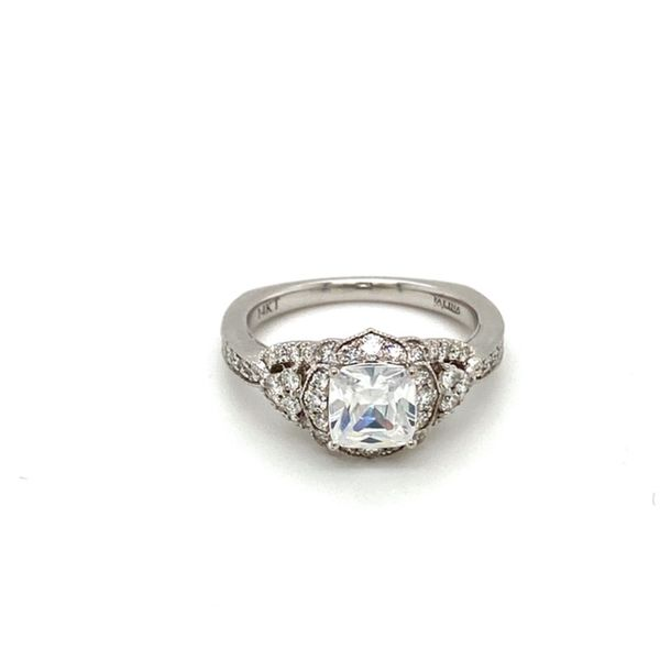 Scalloped Diamond Halo Engagement Ring Setting Image 2 Toner Jewelers Overland Park, KS