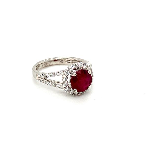 Round Ruby Ring with Diamond Halo Image 2 Toner Jewelers Overland Park, KS