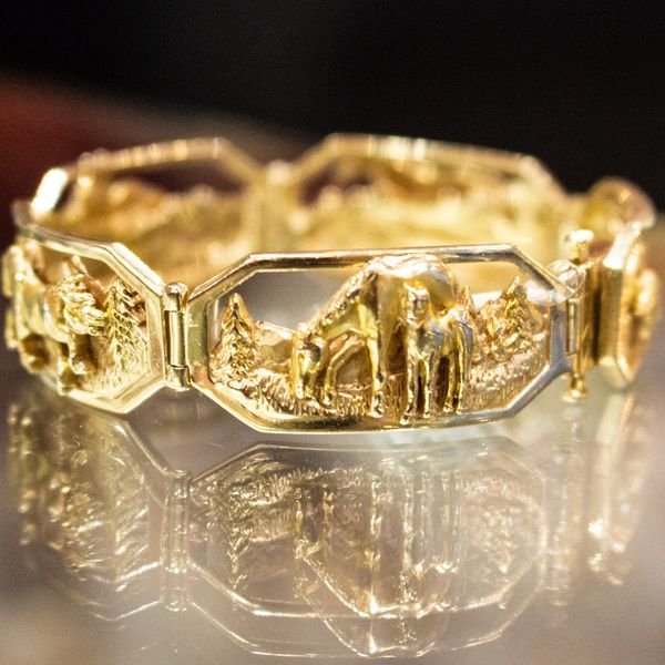 gold antique horse bracelet