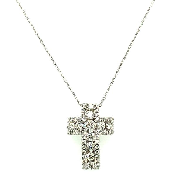 White Gold Diamond Cross Necklace