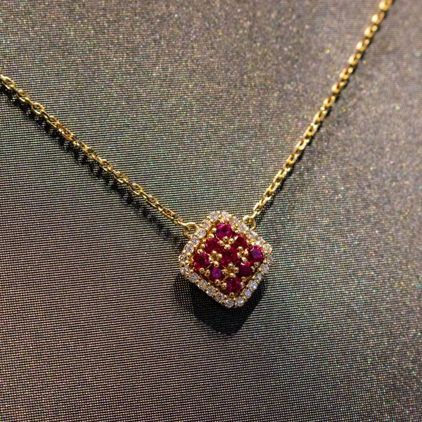 Ruby & Diamond Gold Necklace Image 3 Toner Jewelers Overland Park, KS
