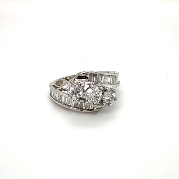 Estate Diamond Bypass Ring with Baguettes Image 2 Toner Jewelers Overland Park, KS