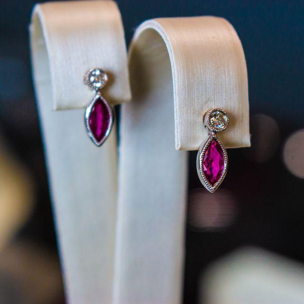 Marquise Ruby & Diamond Earrings