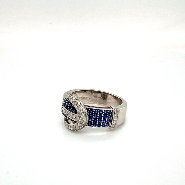 Lady's Estate Sapphire and Diamond Buckle Ring Image 4 Toner Jewelers Overland Park, KS