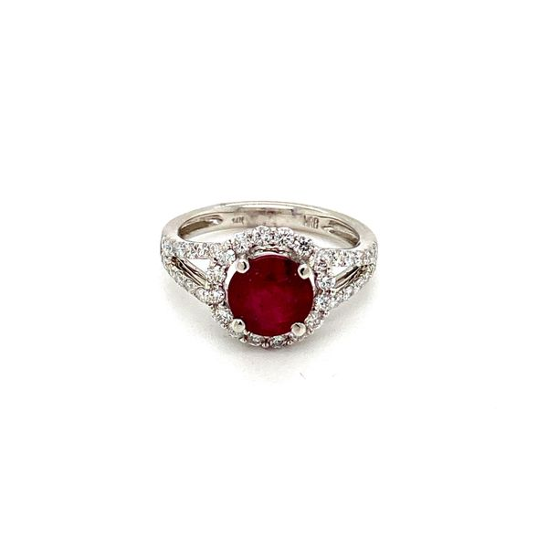 Round Ruby Ring with Diamond Halo Toner Jewelers Overland Park, KS