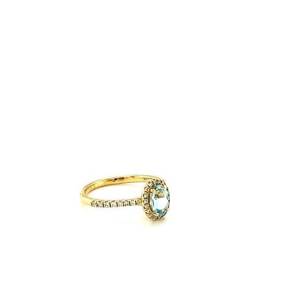 Gold Aquamarine Halo Ring  Image 3 Toner Jewelers Overland Park, KS