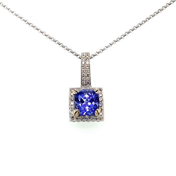 Tanzanite Pendant Necklace with Diamond Halo Toner Jewelers Overland Park, KS