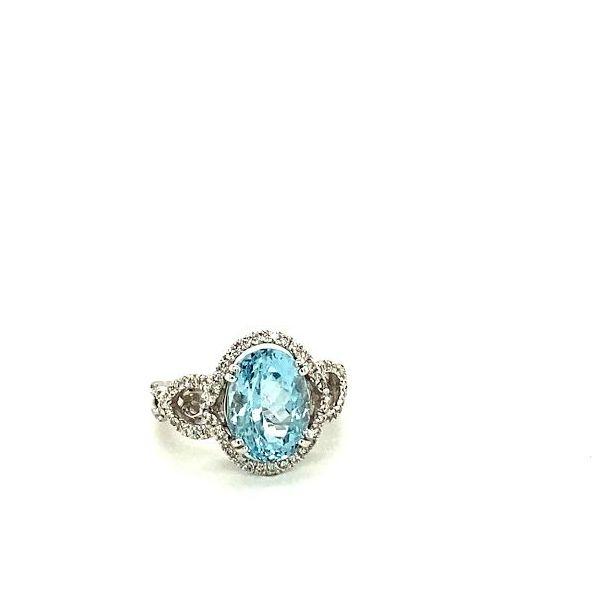 Oval Aqua & Diamond Ring  Image 3 Toner Jewelers Overland Park, KS