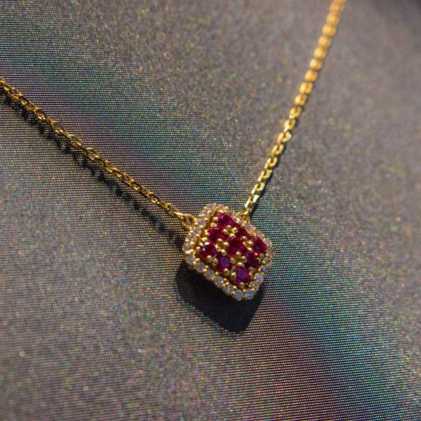 Ruby & Diamond Gold Necklace Image 2 Toner Jewelers Overland Park, KS