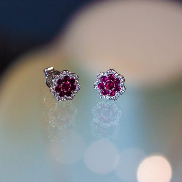Ruby Flower Earring Studs