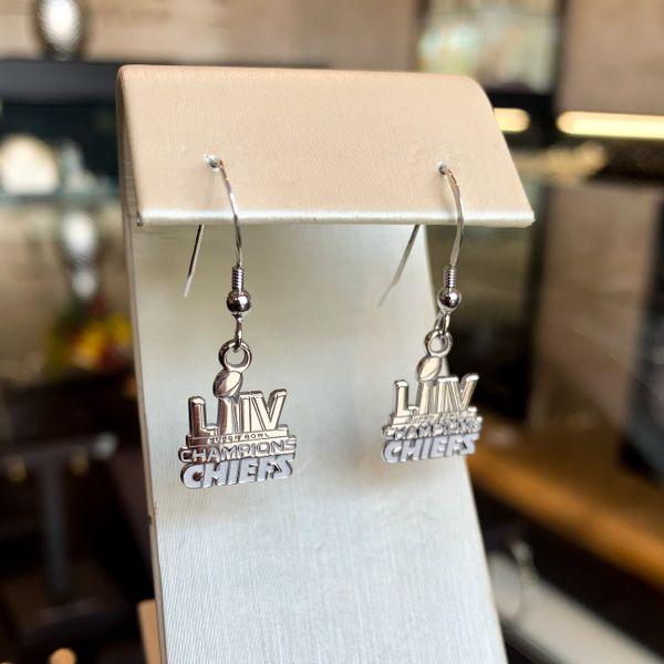 Chiefs silver dangle earrings
