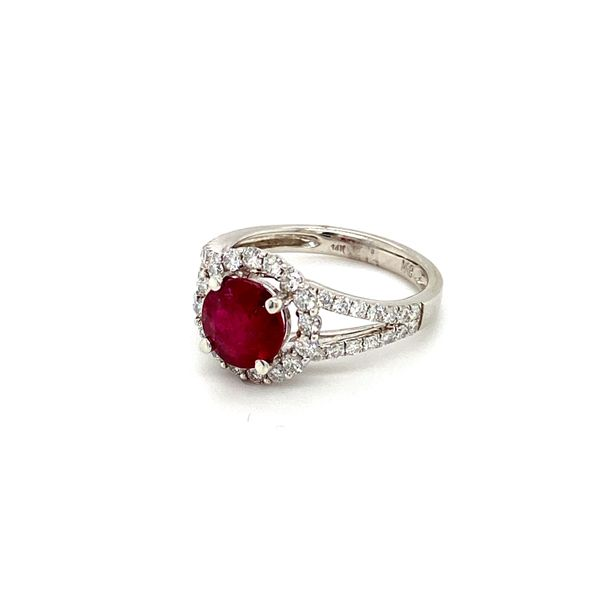 Round Ruby Ring with Diamond Halo Image 3 Toner Jewelers Overland Park, KS