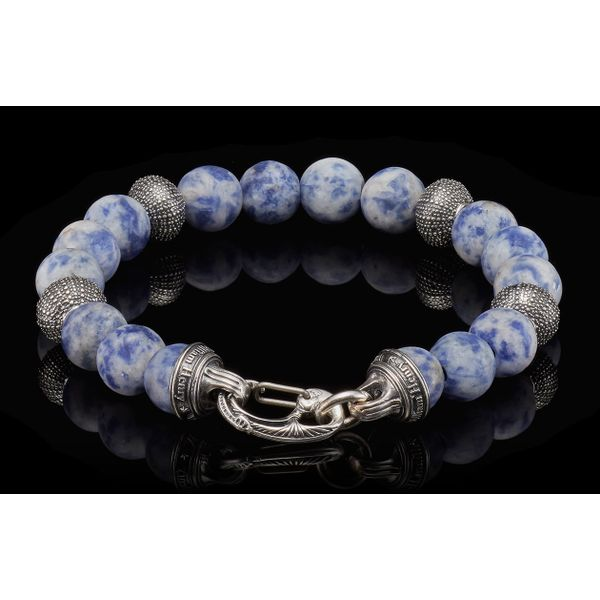 Pacific Ocean Sodalite Bead Men's Bracelet Image 2 Toner Jewelers Overland Park, KS