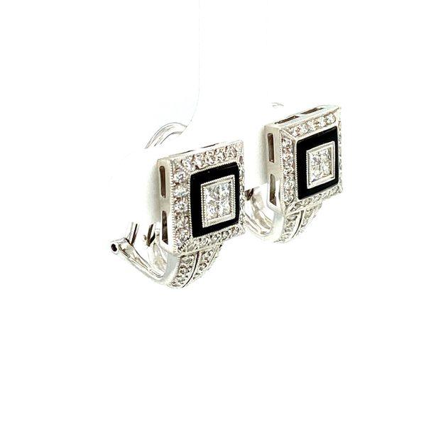 Onyx & Diamond Small Hoop Earrings Image 2 Toner Jewelers Overland Park, KS