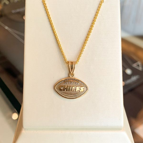 Gold Chiefs Football Pendant Necklace