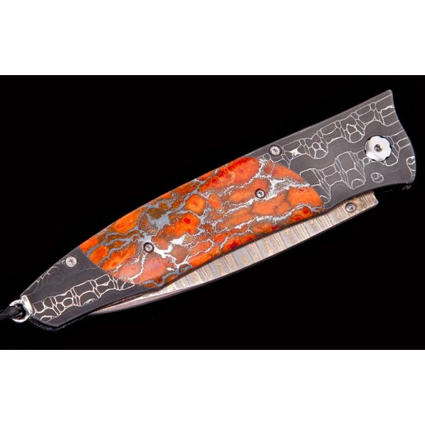 Damascus Pocket Knife with Apple Coral Image 2 Toner Jewelers Overland Park, KS